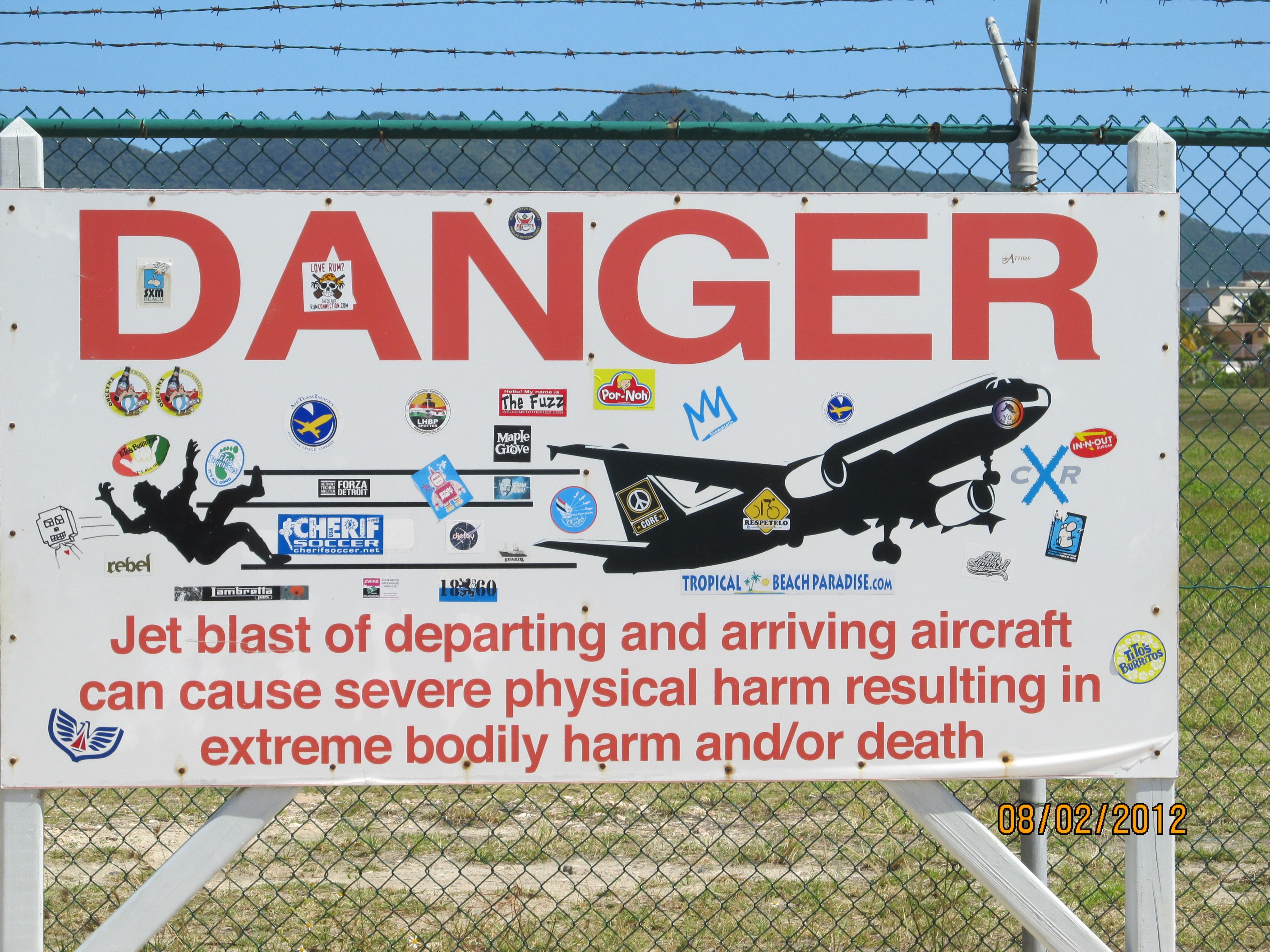 Danger Sign at St Maarten Airport Beach