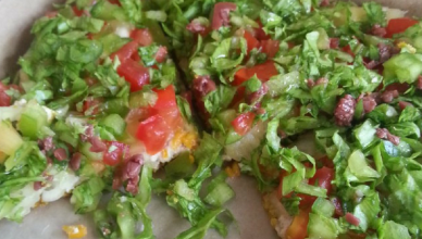 Pizza from Mi Hungry, a raw food restaurant in Kingston Jamaica