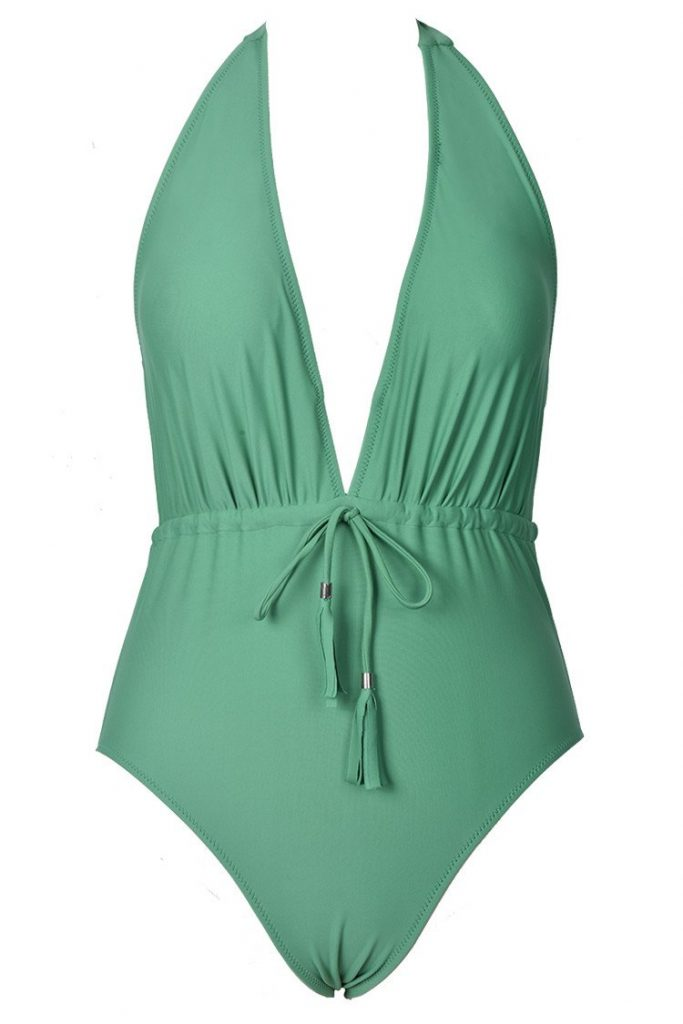 Green halter swimsuit with waist tie