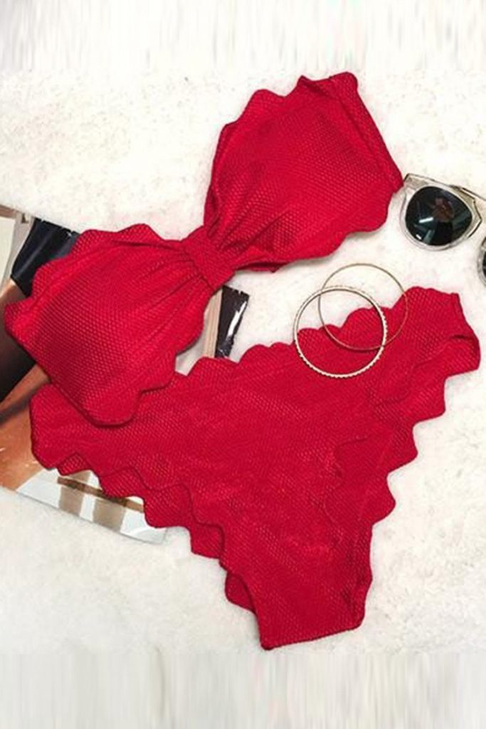 red scalloped bandeau bikini