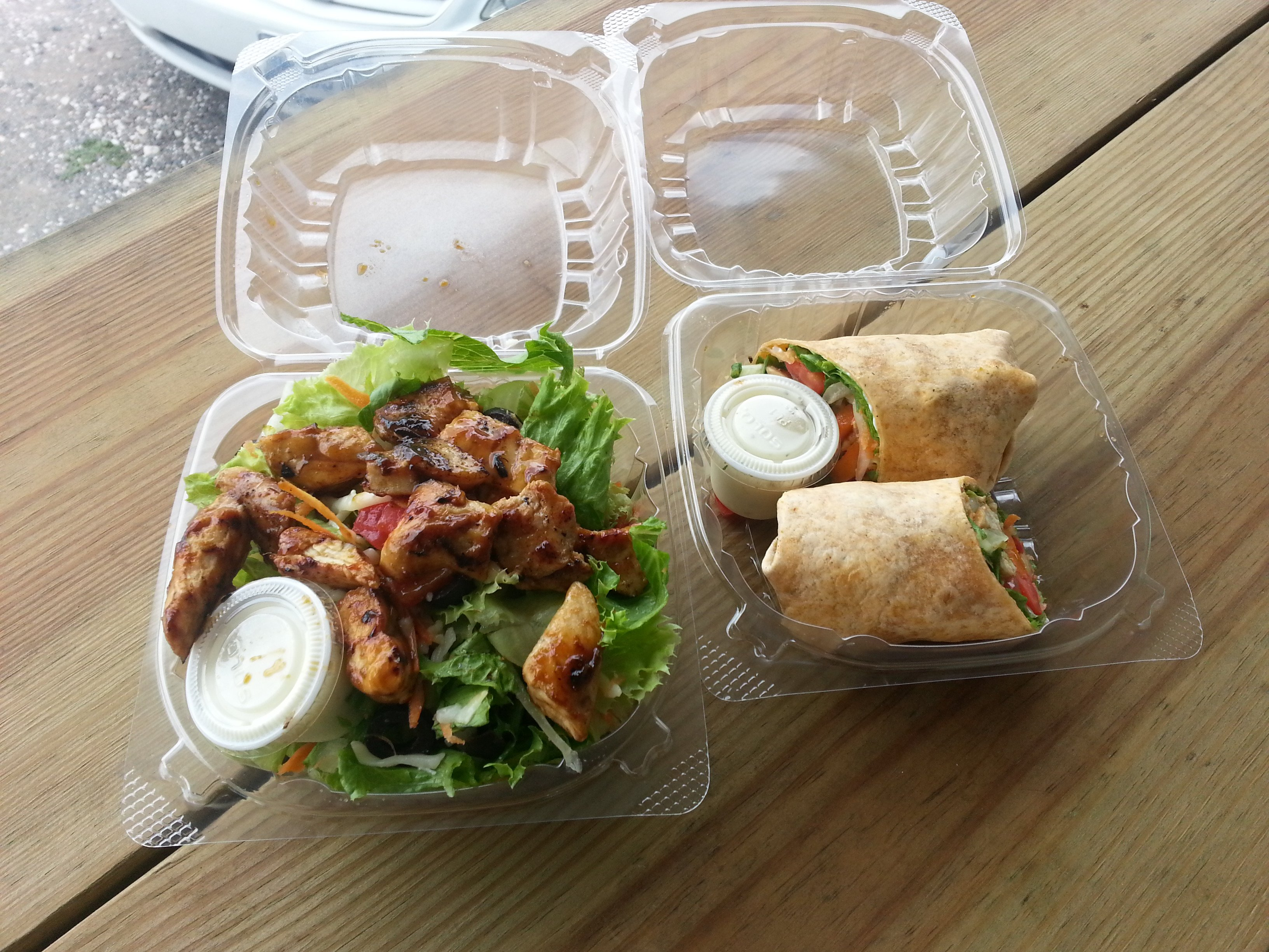 Wrap and Salad at Toss and Roll Kingston Jamaica