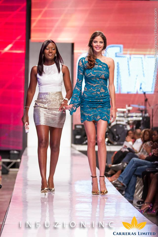 Supermodel Nell Robinson and Pulse's Safia Cooper at Caribbean Fashion Week 2013