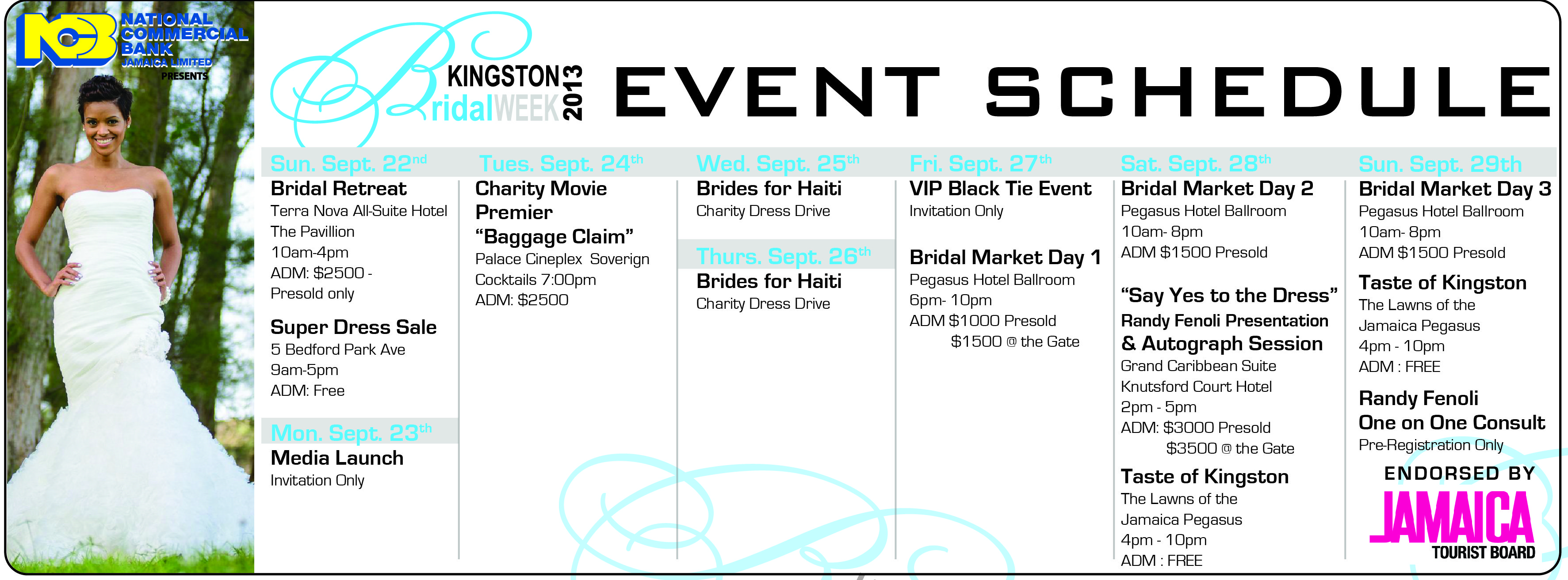 Kingston Bridal Week 2013 Schedule