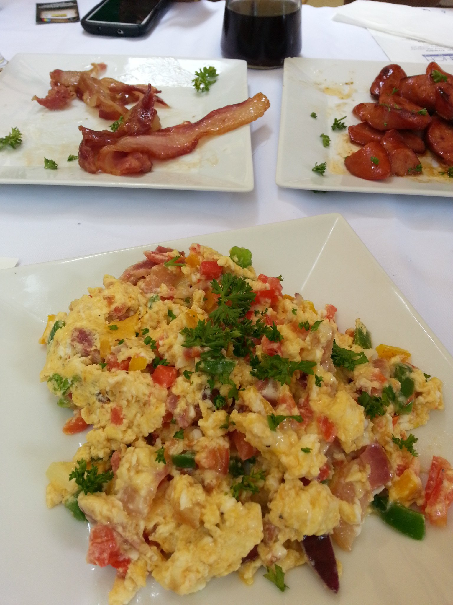 Power Scramble, with sides of bacon and sausage