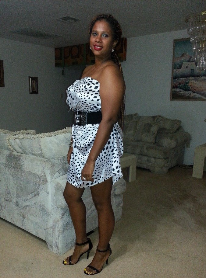 White with black polka dot dress
