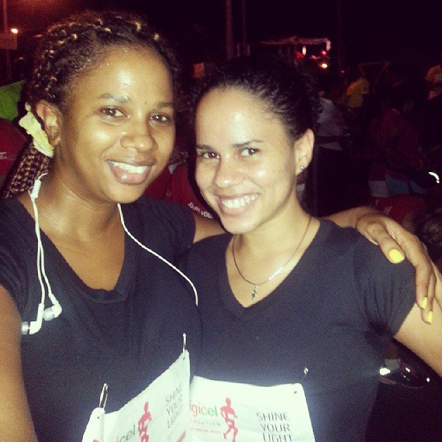 IrieDiva and sister at Digicel's night run