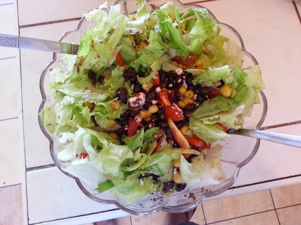 Black bean, corn and feta cheese salad with Trujuice Sorrel Vinaigrette
