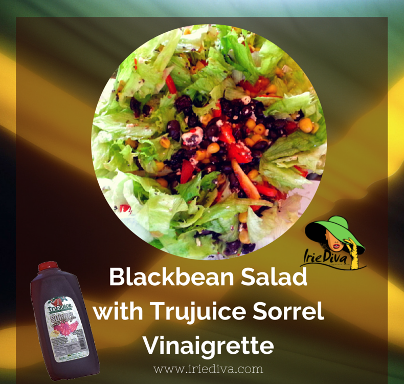 Black bean, corn and feta cheese salad with Trujuice Sorrel Vinaigrette