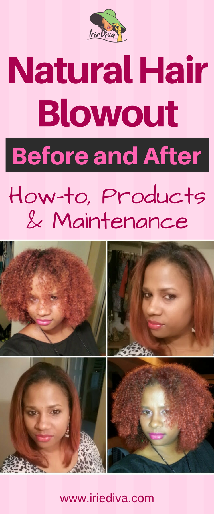 How to blow out natural hair, before and after pictures of long hair natural blow out and short hair natural blowouts plus the products used to maintain