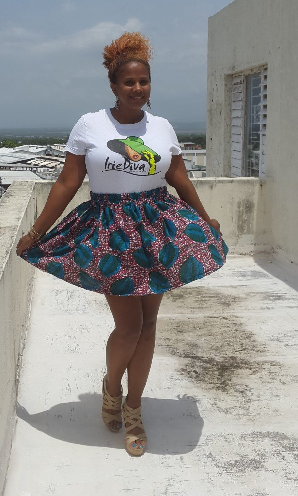 IrieDiva Ankara Print Gathered Waist Skirt