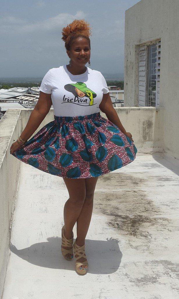 IrieDiva Ankara Print Gathered Waist Skirt