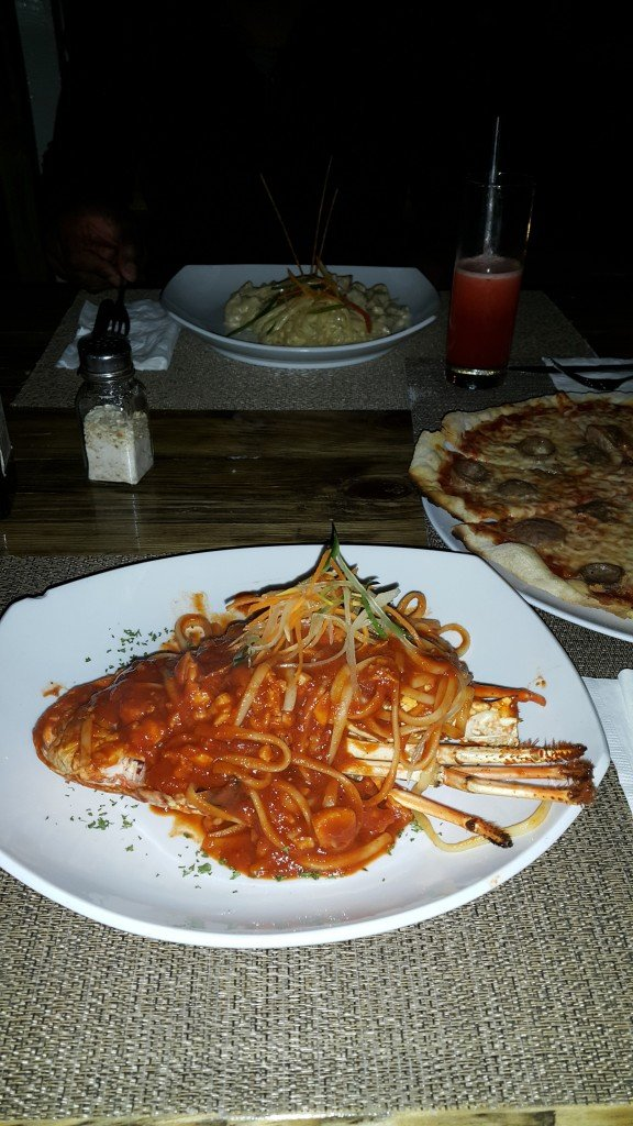 Food at the Italian Cafe in Negril