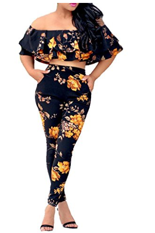 off shoulder pants set