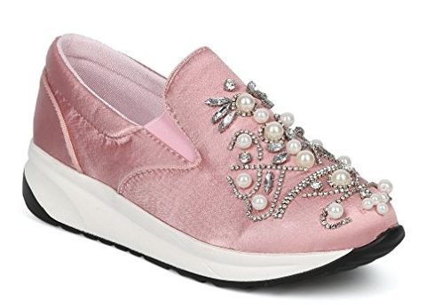 pink embellished sneakers