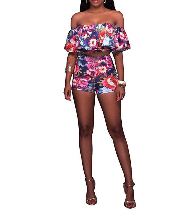 floral shorts set