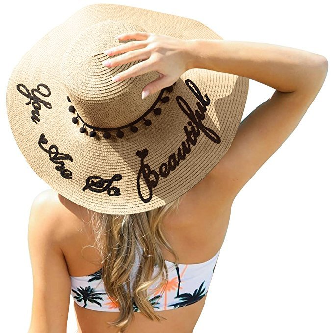 Floppy beach hat with embroidered quote