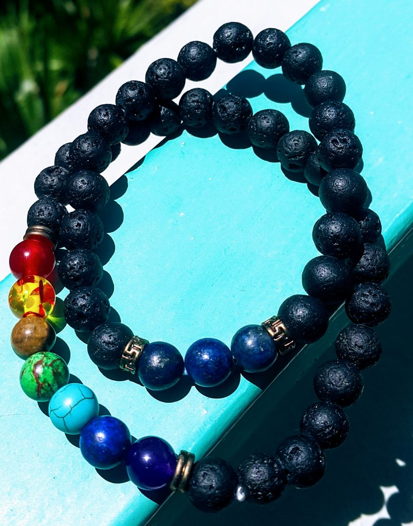 Rainbow Stone Bracelet with Lava Beads Review Kilem Kollectibles