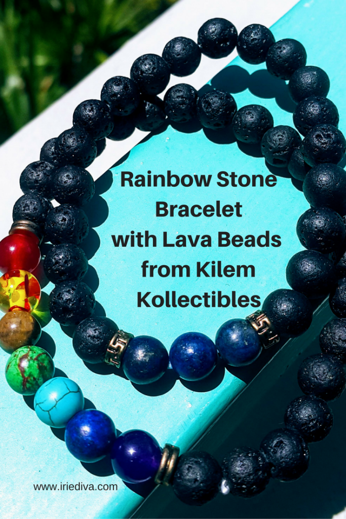 Review and discount code! Rainbow Stone Bracelet with Lava Beads by Kilem Kollectibles