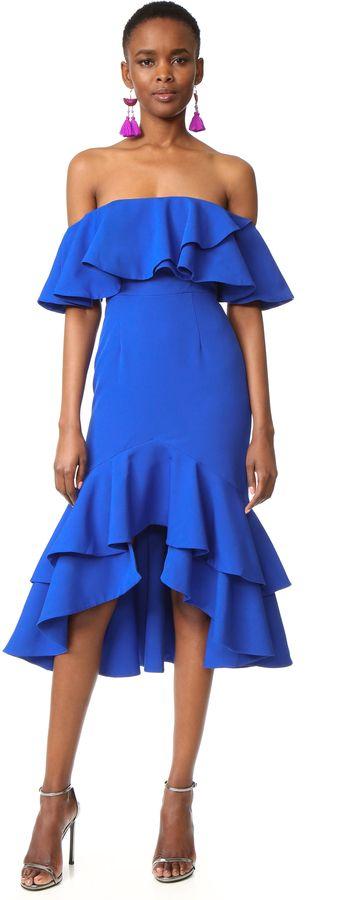 BLue Ruffle Holiday Party Dress