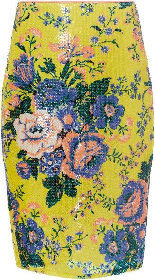 Diane Von Furstenberg Floral-Print Sequin Pencil Skirt
