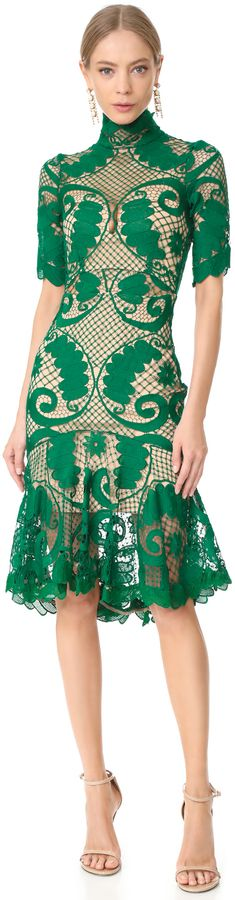 Green Lace Cocktail Holiday Dress