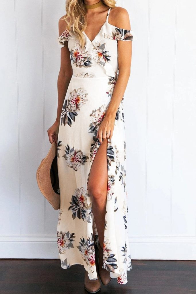 Floral off shoulder dress with high slit