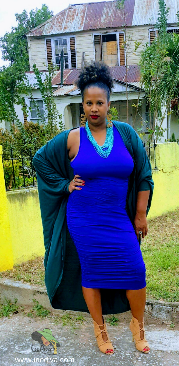 Scrunchy bodycon blue dress with green duster