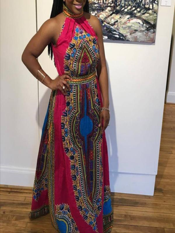 Halter Shoulder Dashiki Maxi Dress