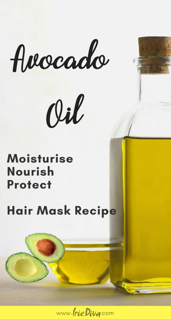 Avocado oil for hair: homemade hair mask for dry hair. Benefits of avocado oil for hair include hair growth, cleansing the scalp and moisturizing the hair shaft from the inside out.