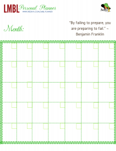 Monthly calendar page from the Living My Best Life Free Weekly Planner Printable