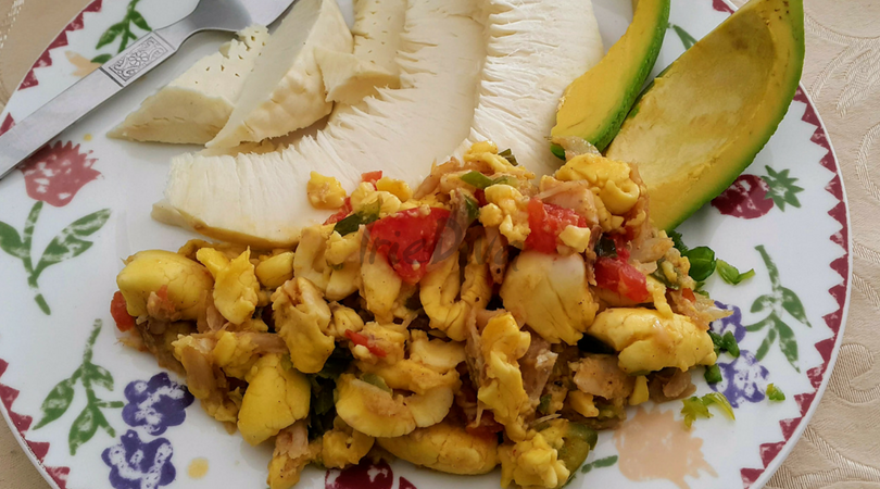 Ackee and Saltfish with Roast Breadfruit and Avocado
