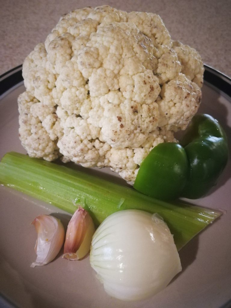 Ingredients for keto cauliflower rice recipe