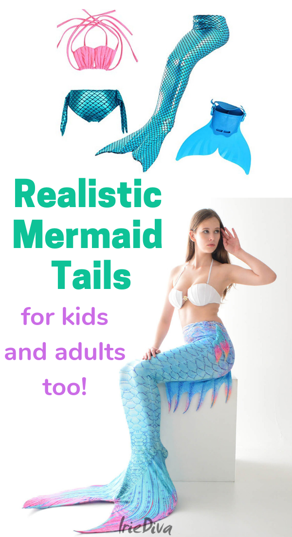 Realistic mermaid tails for kids and cheap silicone mermaid tails for adults! Mermaid tails can be expensive but we found these gorgeous mermaid tails that are really fun! #mermaidtail
